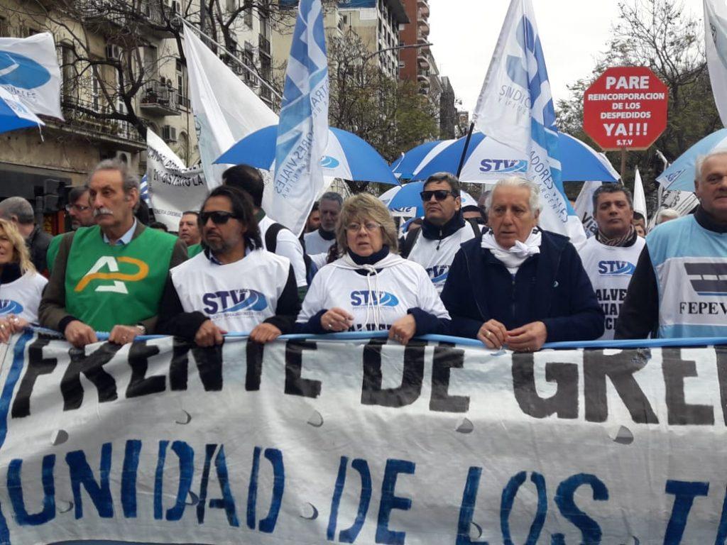 El Sindicato de Trabajadores Viales y Afines encabezando la Marcha Federal Vial