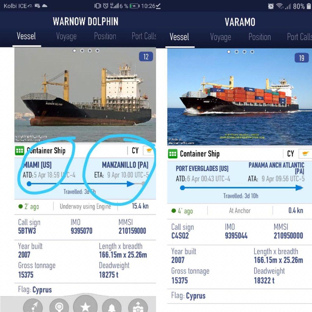 Imágenes de los dos barcos que no atracaron en JAPDEVA: El Váramo y el Dolphin